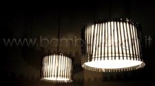 LAMPADA A SOSPENSIONE IN BAMBU' BLACK DIAM. 40 H30 CM.