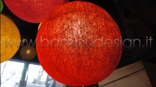 LAMPADA SOSPENSIONE BALOON RED - ROSSA - FIBRA VEGETALE DIAM 30 CM.
