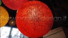 LAMPADA SOSPENSIONE BALOON RED - ROSSA - FIBRA VEGETALE DIAM 40 CM.