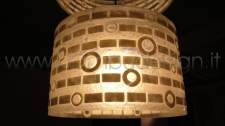 LAMPADA A SOSPENSIONE MADREPERLA E RESINA - CYLINDER DIAM 40 H 25 CM.