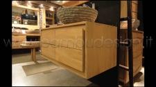 MOBILE BAGNO IN TEAK SOSPESO 1 ANTA SX+2 CASSETTI DX 100X50 H 45