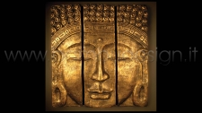 QUADRO BUDDHA TRITTICO RESINA BLACK GOLD 150X150 SP. 10