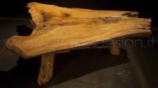 TAVOLINO LEGNO MASSELLO RADICE DI TEAK - 3 LEGS 90/100X80 H30 CIRCA