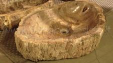 LAVABO IN LEGNO FOSSILE BROWN LARGE DIAM 60/70 H 15 CM.