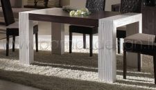 TAVOLO ALLUNGABILE IN CRASH BAMBU' E FRASSINO - TAMBORA WHITE/BLACK 160X90 H 78
