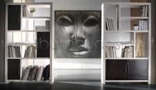 LIBRERIA CRASH BAMBU' WHITE BLACK- 2 ANTE 6 VANI 120X35 H210