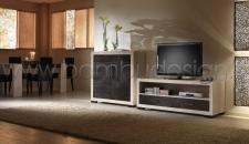 PORTA TV IN CRASH BAMBU' WHITE/BLACK - DIAMOND 150X50 H60 CM