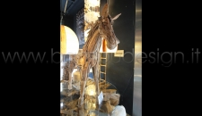 CAVALLO IN TEAK RICICLATO 180X40 H155 CM CIRCA