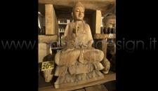STATUA BUDDHA LEGNO MASSELLO - SCULTURA 46X26 H80