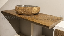 TOP/PIANO IN LEGNO TEAK MASSELLO NATURALE 180X50 SP 5 CM.