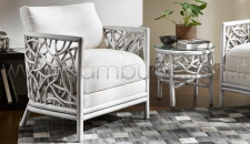 POLTRONA IN RATTAN INTRECCIATO CELEBES - WHITE ANTIQUE 77X86 H 75 CM.