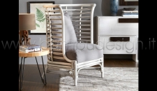 POLTRONA IN RATTAN INTRECCIATO MAOKE - WHITE ANTIQUE 87X76 H112 CM.