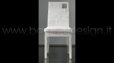 SEDIA MINIMAL CON FORO CRASH BAMBU' WHITE 46X50 H100 CM.