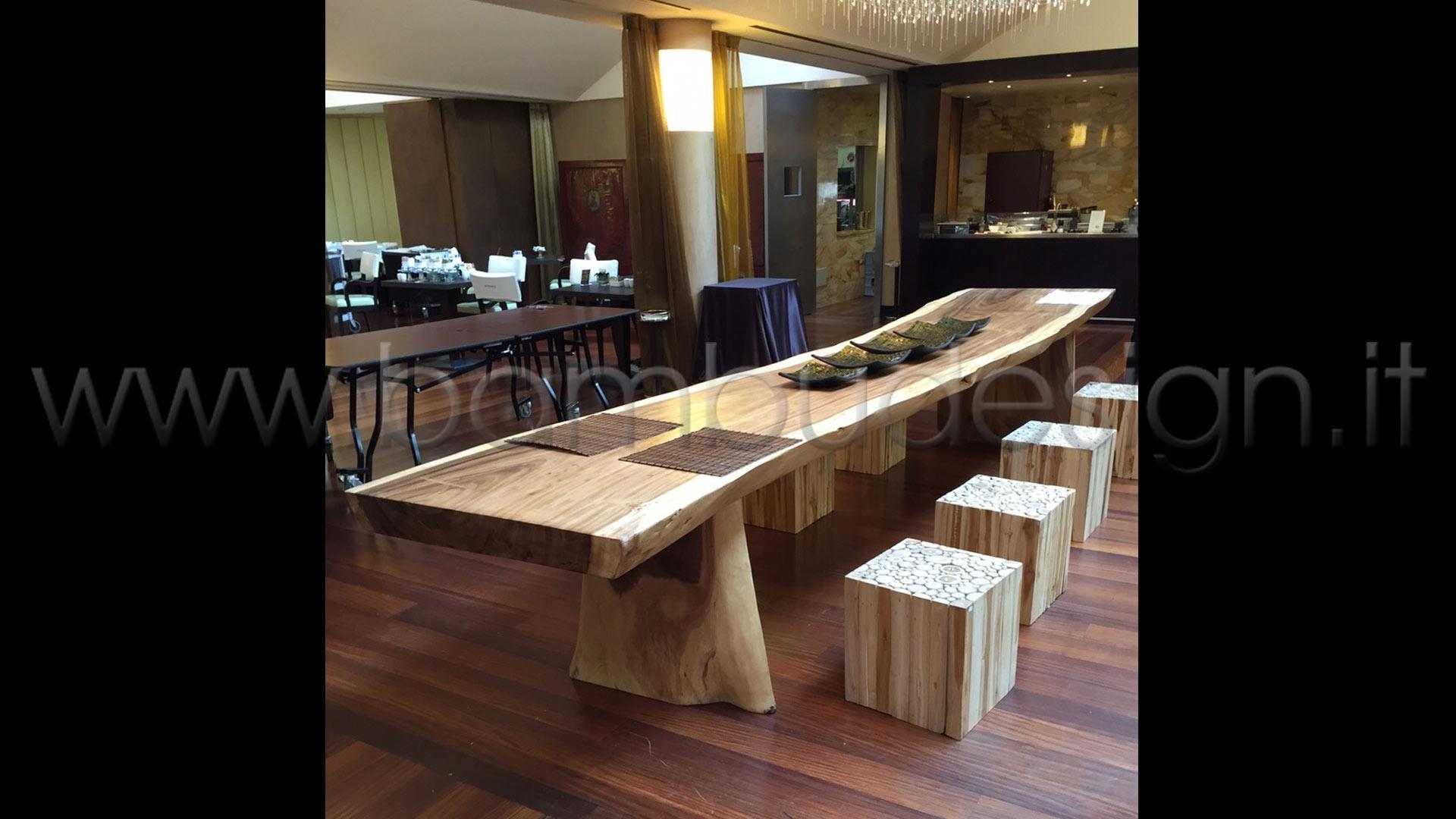 Tavolo in legno suar massello naturale 250x80 h 80 sp for Runner tavolo 2 metri