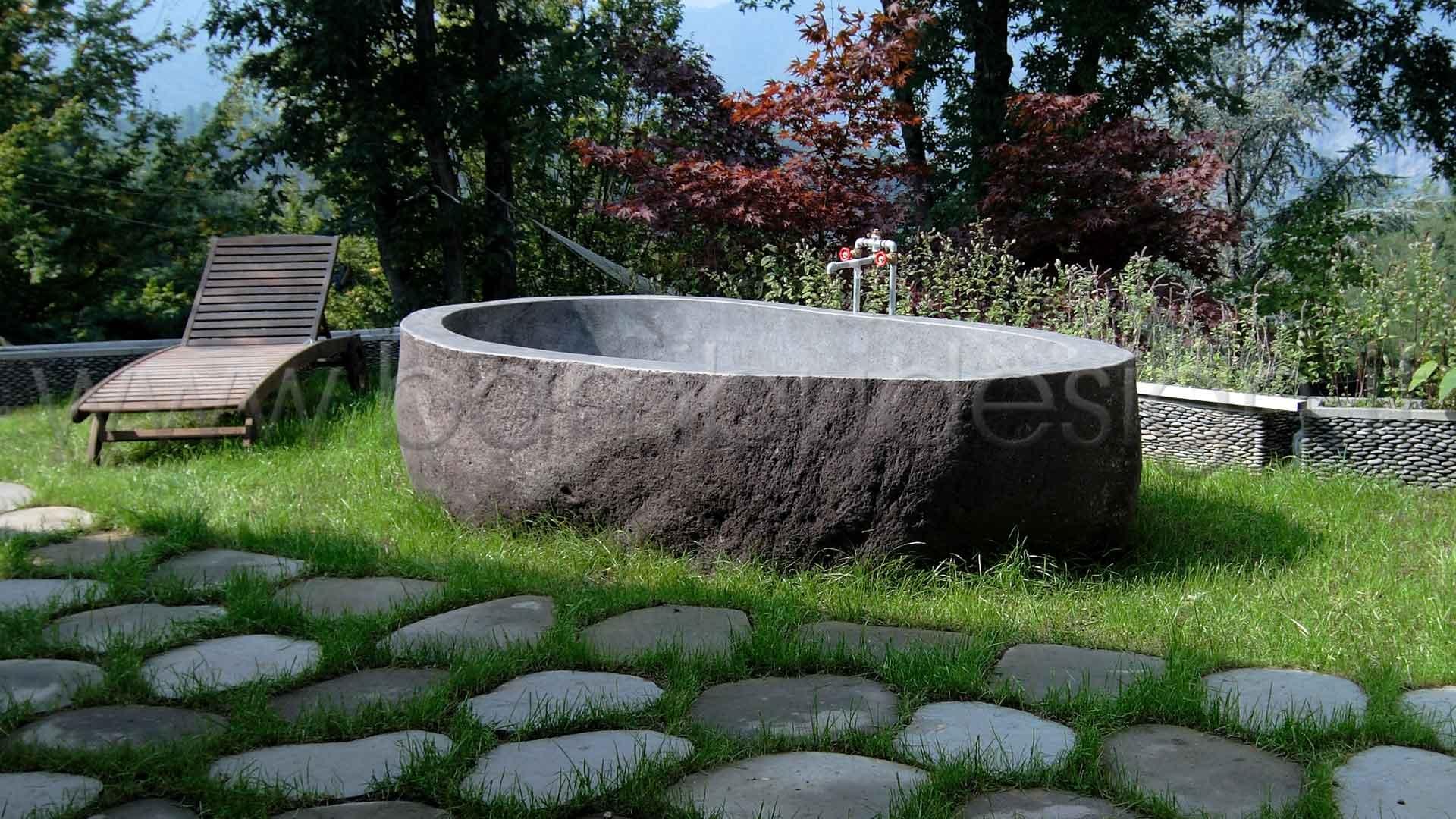 vasca da bagno riverstone pietra naturale scavata 280x135 bamb design milano
