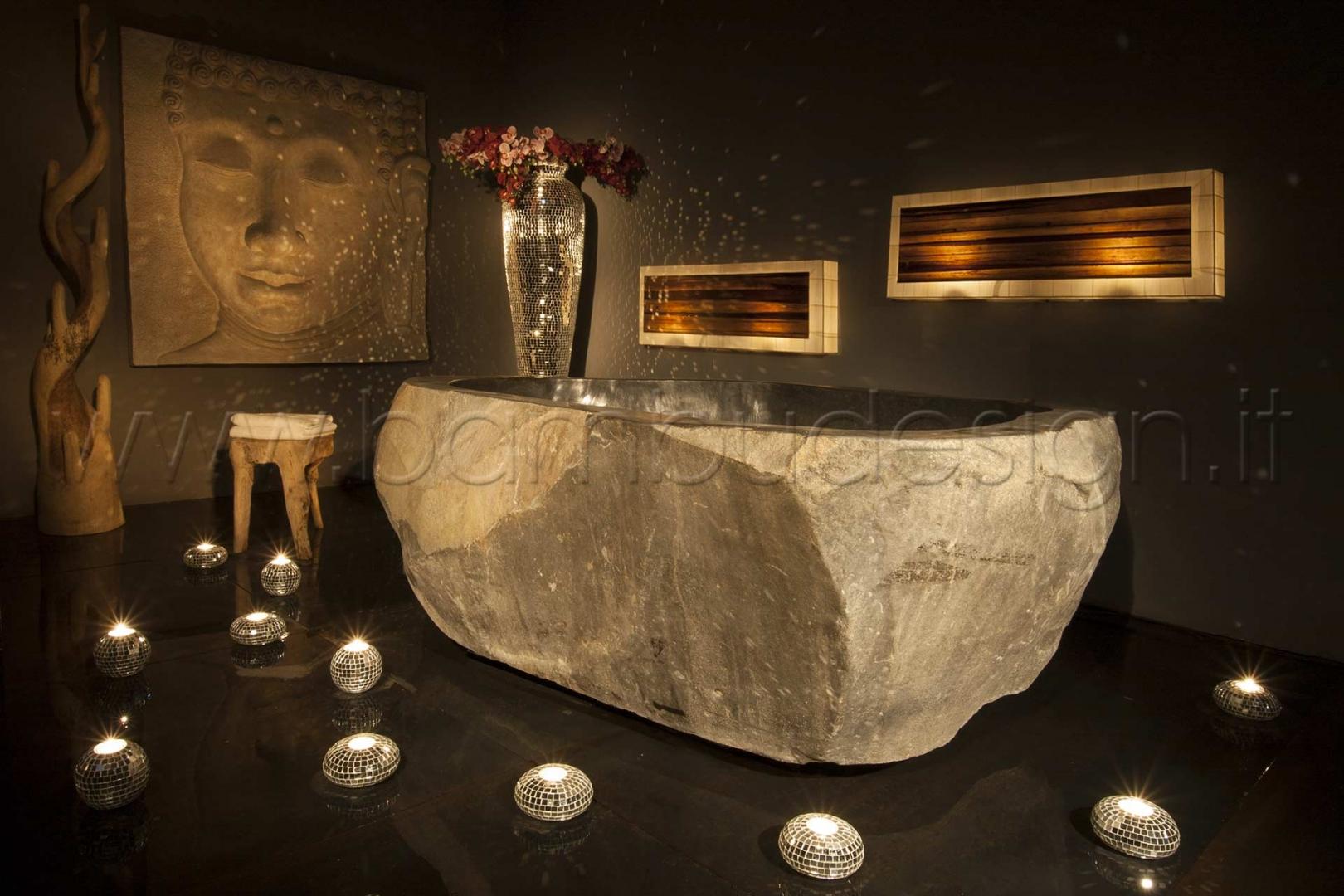 Vasca Da Bagno In Pietra : Vasca da bagno riverstone pietra naturale bambù design