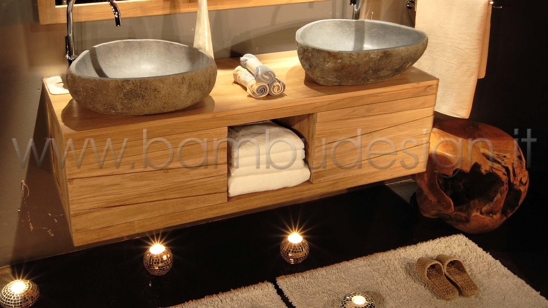 Mobile bagno in teak sospeso ante vano h bambù
