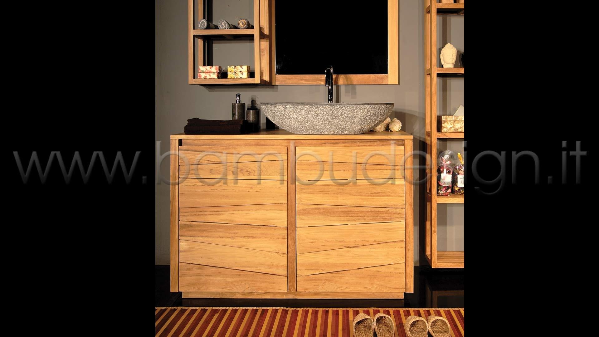 MOBILE BAGNO IN TEAK 2 ANTE 100X50 H 80 | Bambù Design Milano