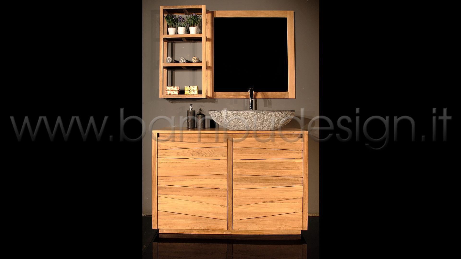 Mobile bagno in teak 2 ante 80x50 h 80 bamb design milano - Bagno in cucina ...