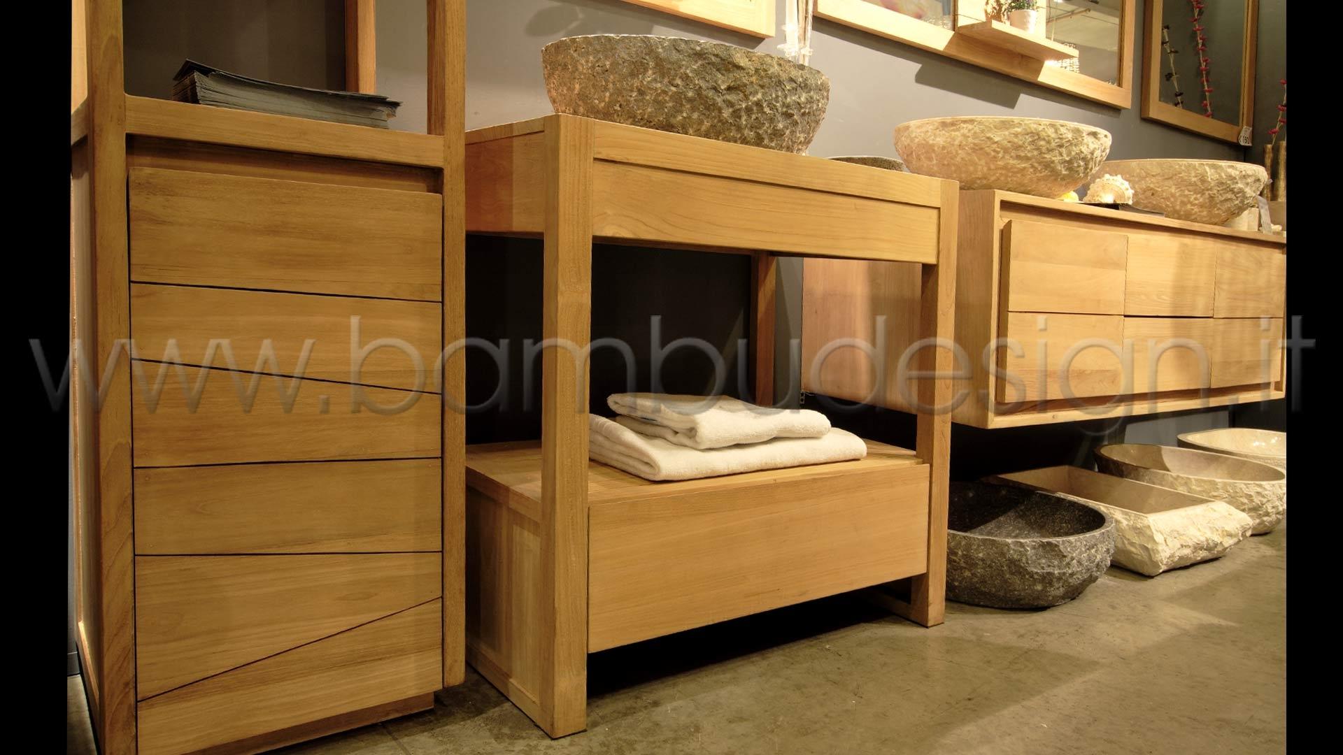 MOBILE BAGNO IN TEAK 1 CASSETTO 80X50 H80 | Bambù Design Milano