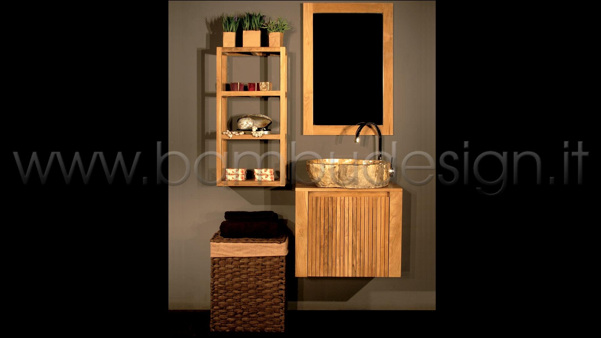 Mobile bagno in teak 1 anta destra 60x30 h50 bamb for Piastrelle bagno 60x30