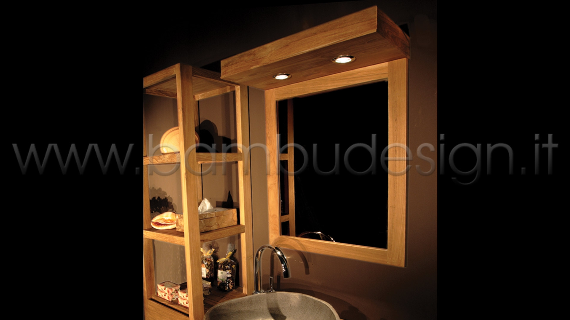 Mensolone bagno in teak con faretti h bambù design milano