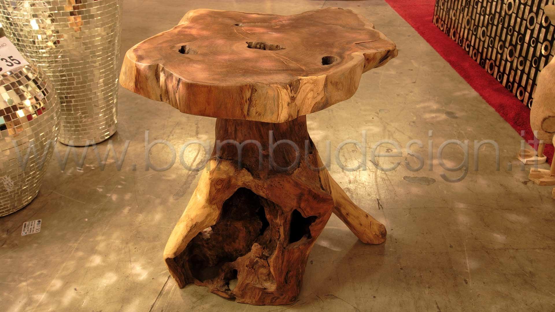 Tavolino sgabello etnik teak diam h bambù design milano