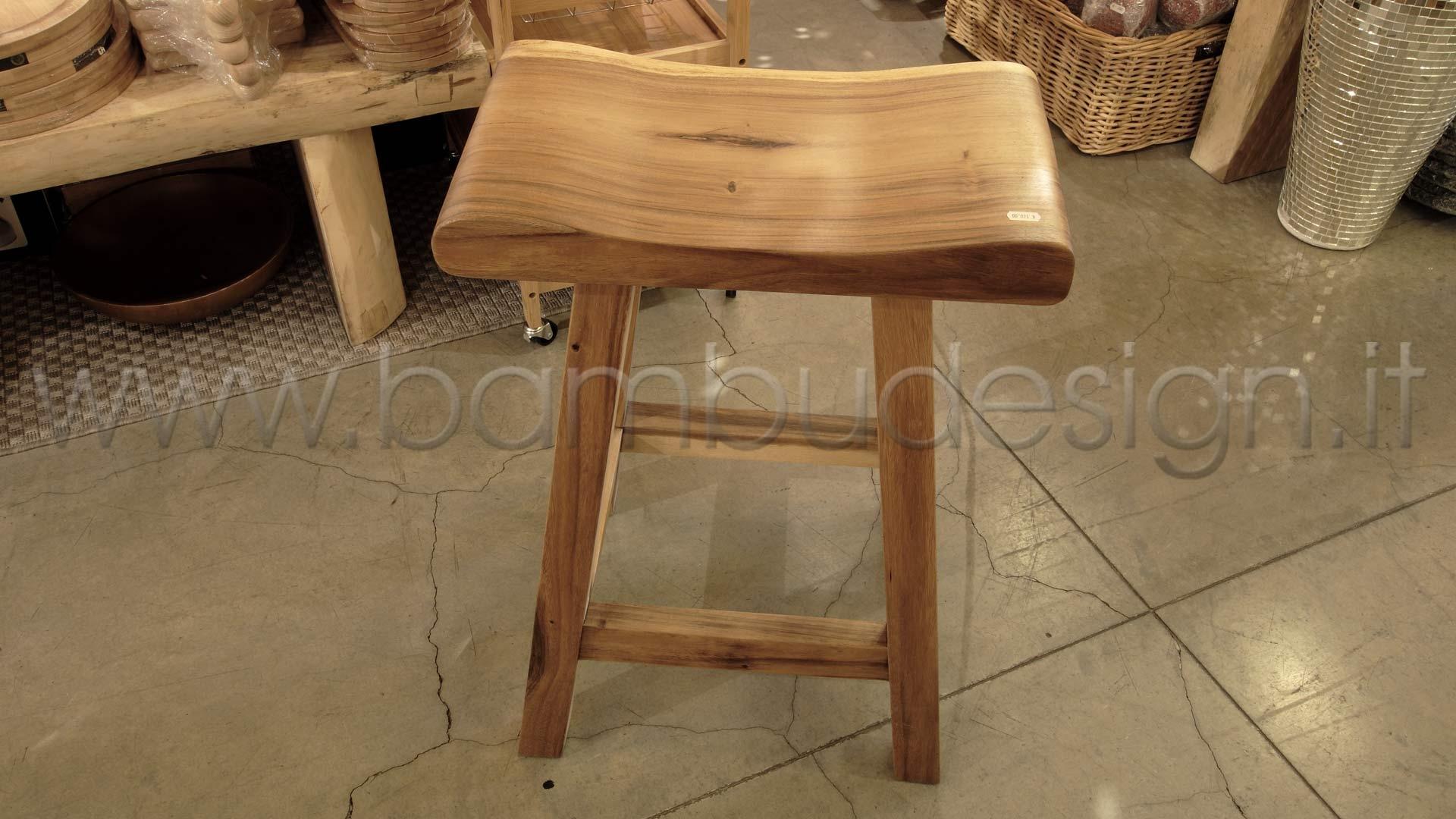 Sgabello bar in suar sate h cm bambù design milano