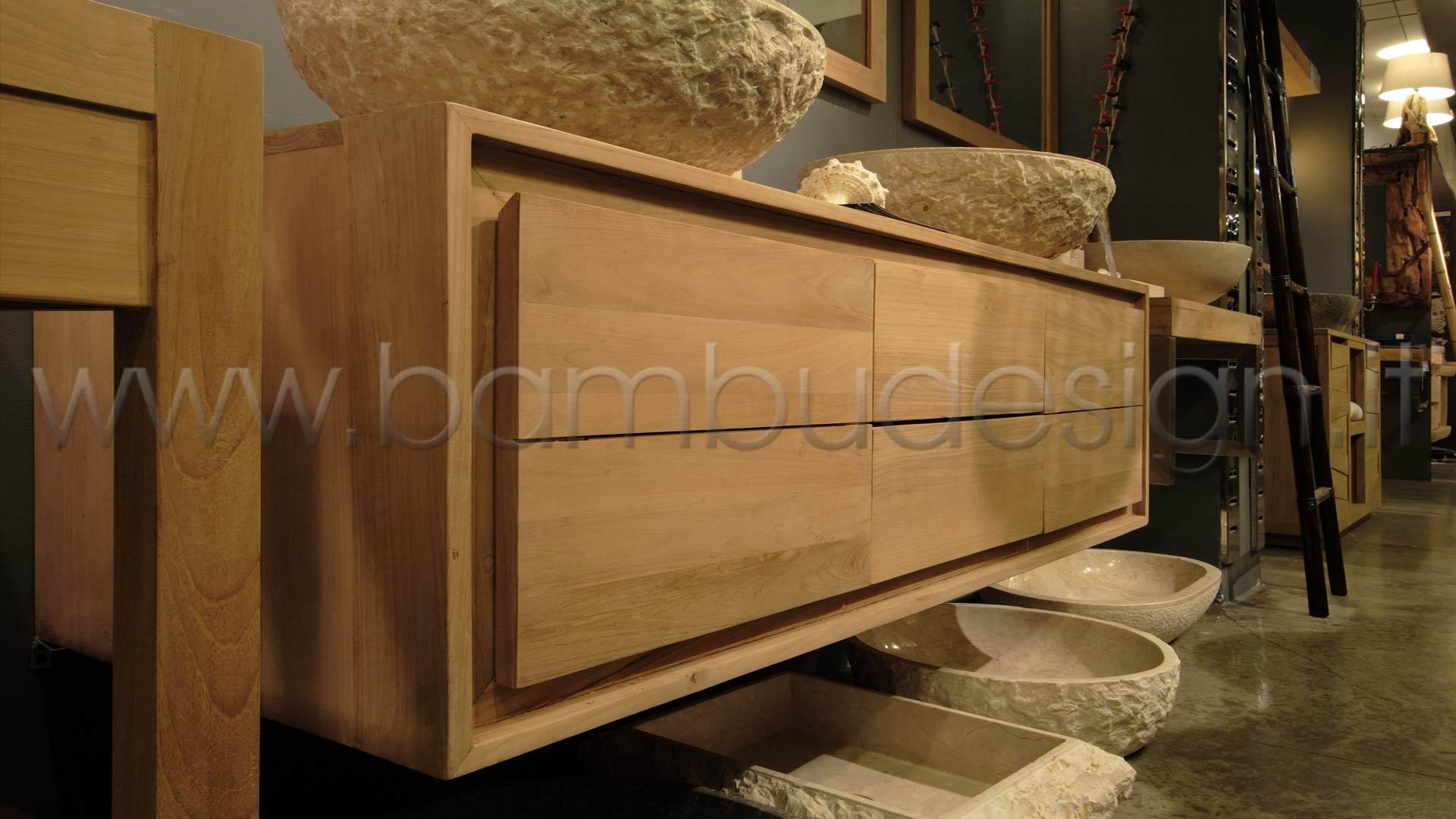 Mobile bagno in teak sospeso ante cassetti h