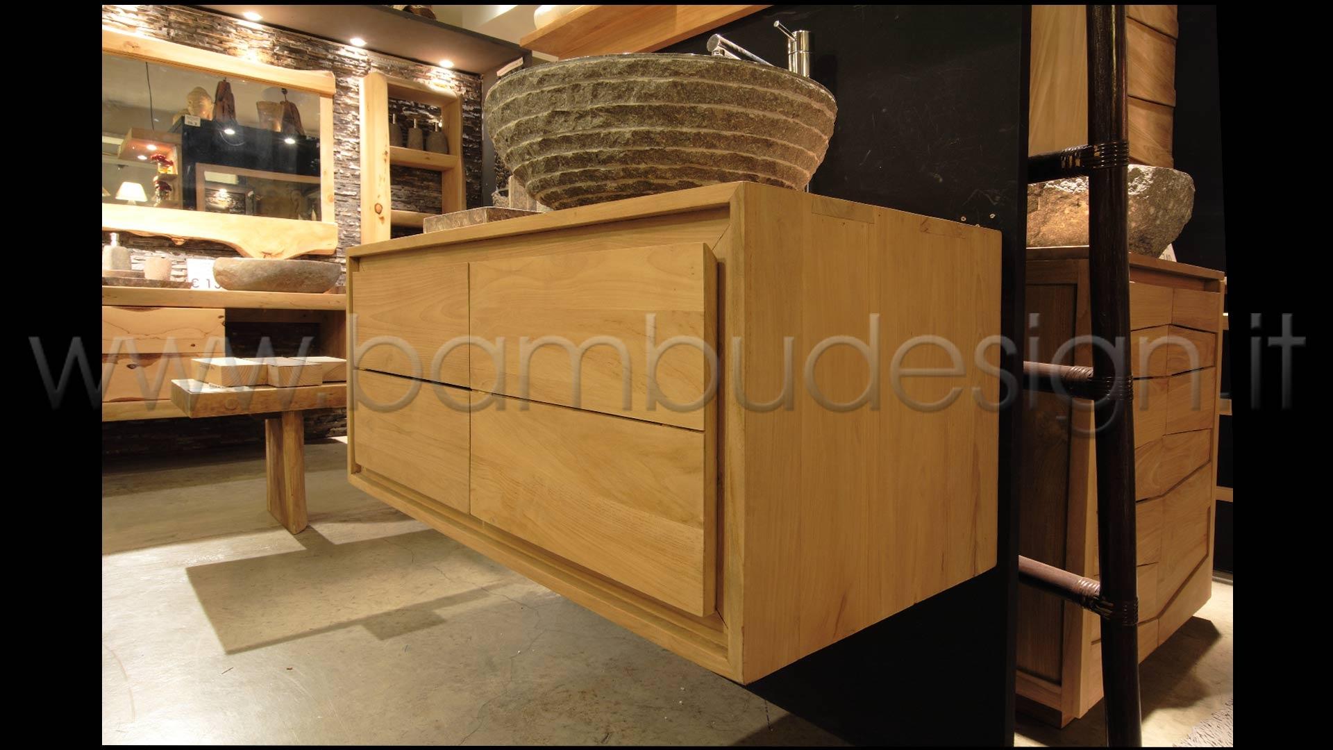 Mobile bagno in teak sospeso 1 anta sx 2 cassetti dx 100x50 h 45 bamb design milano - Mobili in bamboo ...