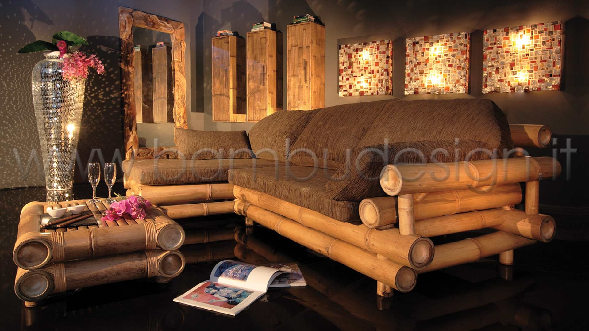 divano in bambu 39 gigante naturale bima con penisola
