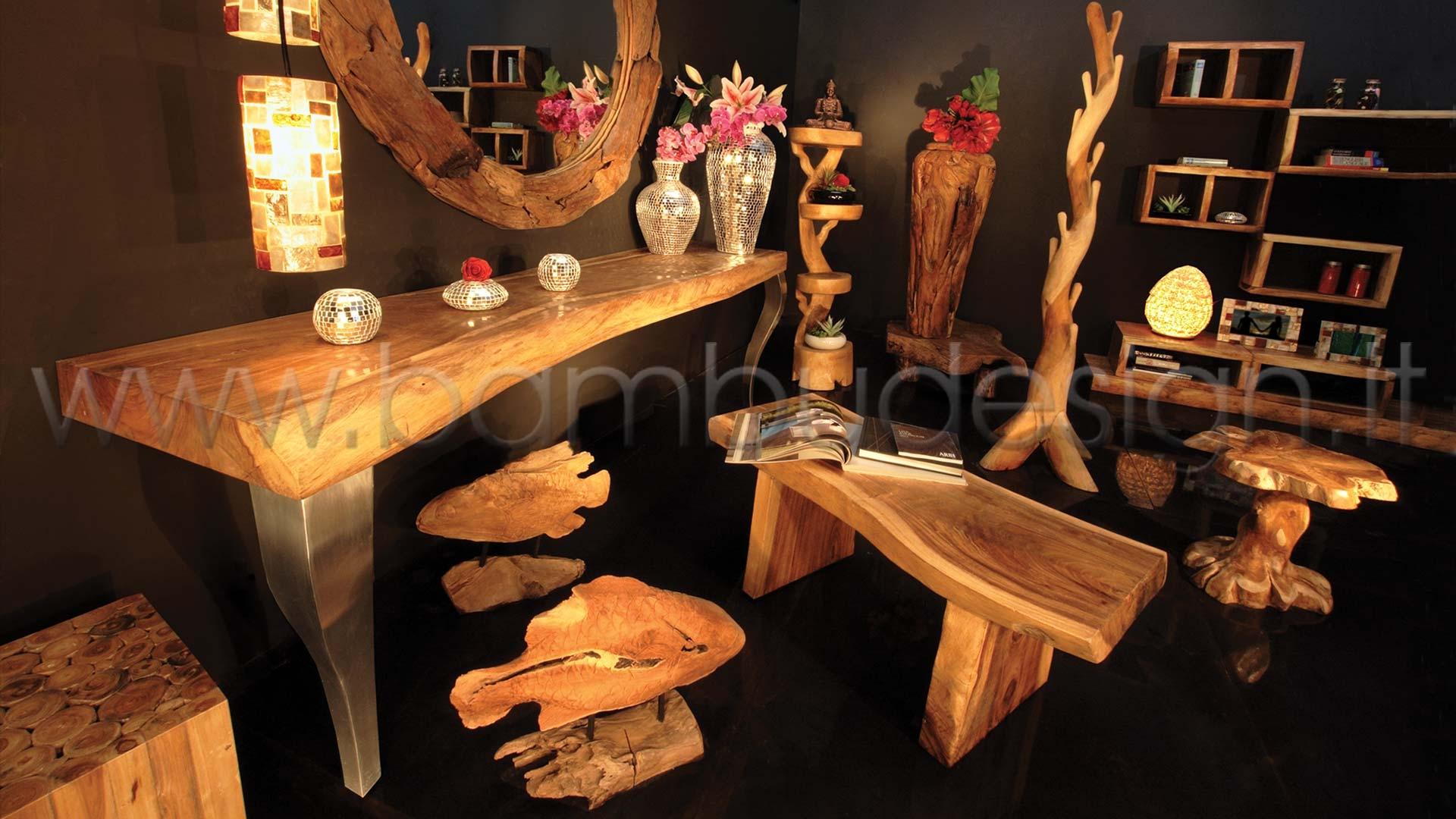 Consolle in suar con gambe stile barocco 200x50 h78 bambù design