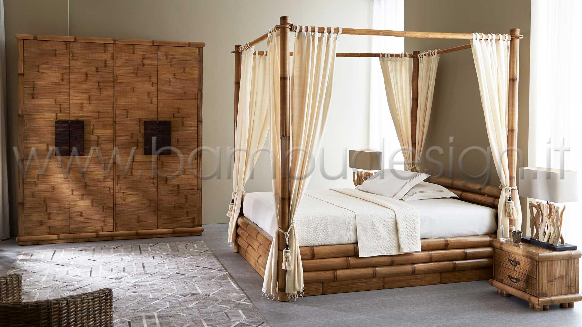 Letto A Baldacchino Matrimoniale.Letto In Bambu Baldacchino Matrimoniale Sumba 180x220 H 40 223 Cm